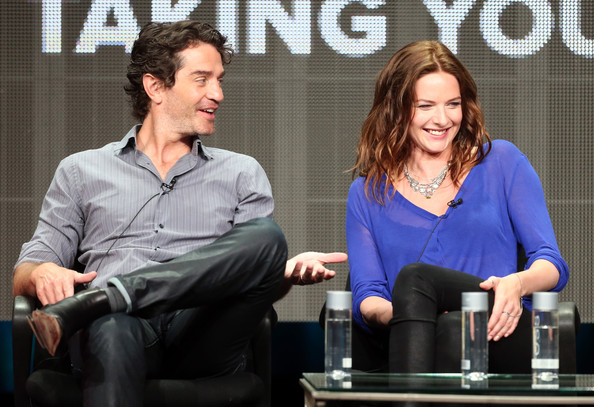 """James Frain and Rebecca Ferguson speak onstage during the """"The White Queen"""" panel discussion at the Starz portion of the 2013 Summer TCA tour – Day 3 at the Beverly Hilton Hotel on July 26, 2013 in Beverly Hills, California. (Frederick M. Brown/Getty Images North America)"""