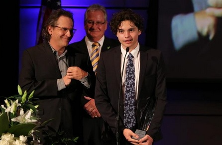 Jason Katims and Max Burkholder accept award on behalf of Parenthood which received the  EIC President's Award