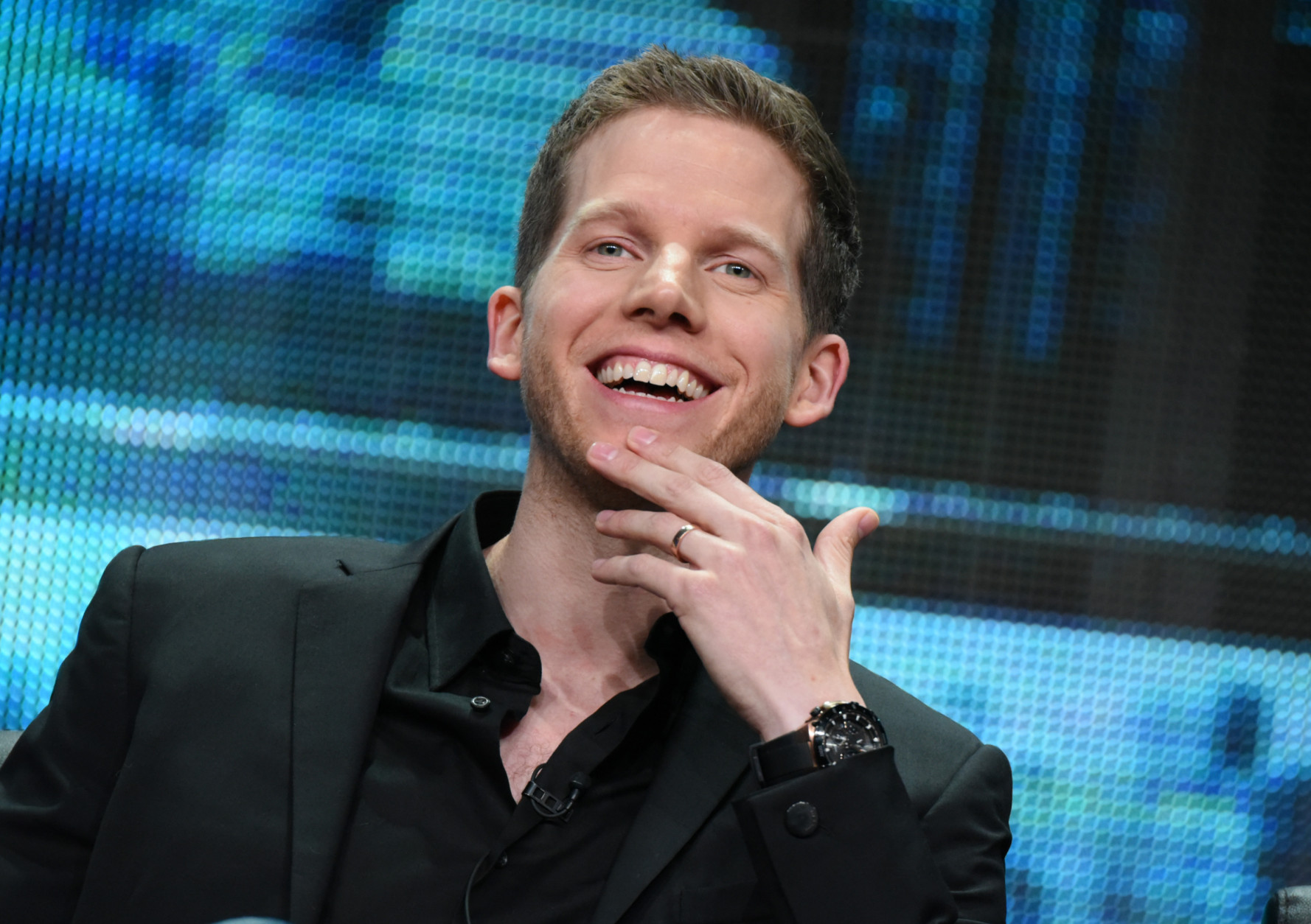 """Stark Sands participates in the """"Minority Report"""" panel at the Fox Summer TCA Tour at the Beverly Hilton Hotel on Thursday, Aug. 6, 2015, in Beverly Hills, Calif. (Photo by Richard Shotwell/Invision/AP)"""