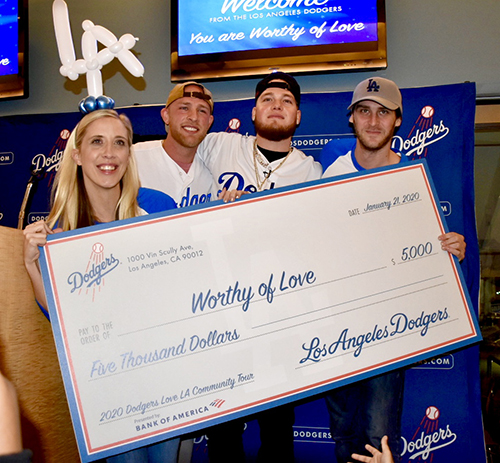 Dodgers donation check to Worthy of Love