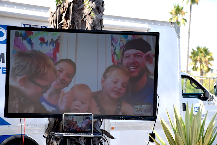 Clayton and Ellen Kershaw on monitor at Back to School Bash image