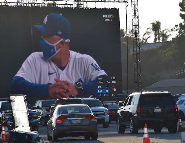 Dodgers NLCS Drive-In Viewing Party Coach Dave Roberts