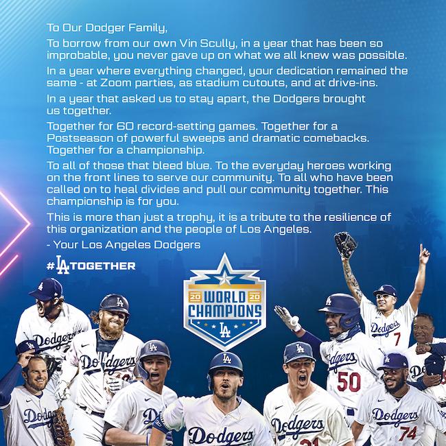 Dodgers 2020 World Champions