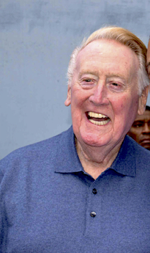 Image of Vin Scully at the Los Angeles Dodgers 2014 Fanfest at Dodger Stadium.