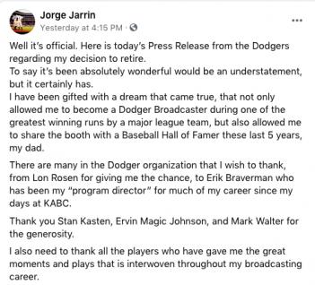 Jorge Jarrin partial facebook Profile post